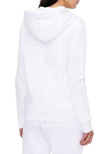 Armani Exchange Armani Exchange 8Nym21 Yj68Z 1000 Kapüşon Yaka Uzun Kol Pamuklu Logo Baskılı Fermuar Detaylı Kadın Sweatshirt Beyaz